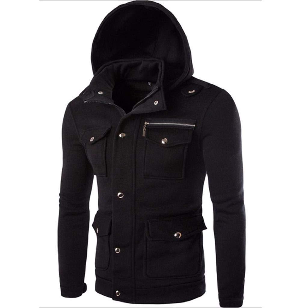 REYO Men's Sportswear Solid Casual Hoodie Autumn Winter Top Pocket