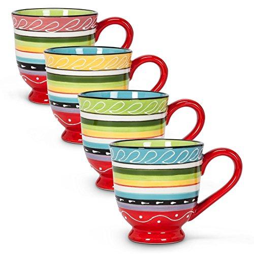 (Abbott Collection 4 Assorted Colourful Pedestal Mugs)