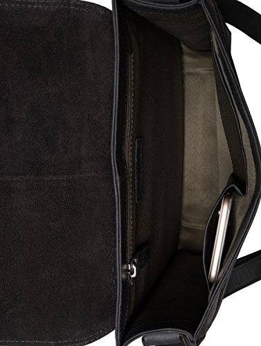 Negro Vintage Pelle Tracolla Vera London In Borsa A Marrone Leabags Di Bufalo xq7p6a