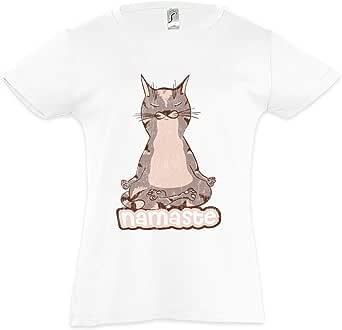 Urban Backwoods Namaste Cat Camiseta para Niñas Chicas niños T-Shirt