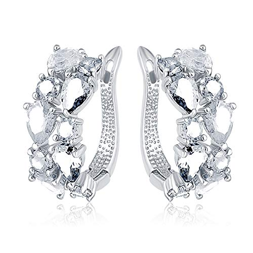 Benmani Womens Cluster Huggie Earring with CZ Crystals (White Gold) ()