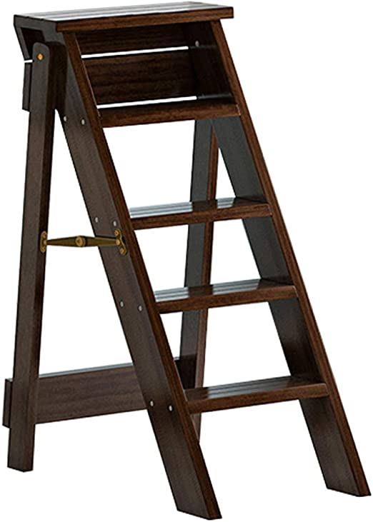 Escaleras Escalera Plegable Interior Escalera Silla Multifunción de Madera Escalera Plegable Taburete Biblioteca en casa Escaleras para Soporte para Plantas, 5 Pasos - Marrón: Amazon.es: Hogar