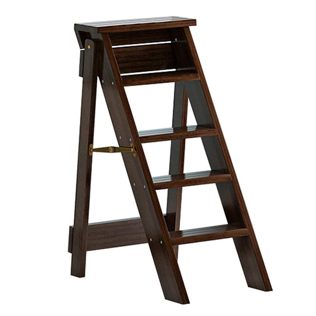 踏み台ステップ 屋内折りたたみ脚立/階段椅子木製多機能折りたたみ式はしごスツールホームライブラリ登り梯子型植物スタンド、5段 - ブラウン B07QNQ4TJB