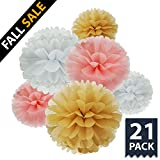 TheCraftyShop™ 21 pc Multi-Colors Tissue Paper Flower Pom Poms Ball DIY Decoration Party Kit for Wedding, Baby Shower, Birthday, Bachelorette, Indoor, Outdoor (Classy Set)