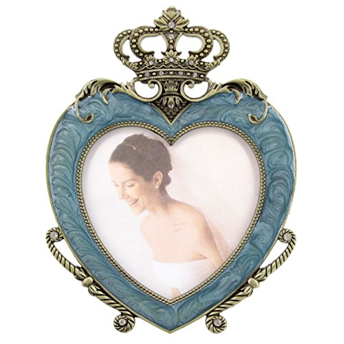 Multifit Metal Heart-shaped with Crown Decoration Antique Pewter Desktop Photo Frames Baroque style Antiquated Frame(Blue)
