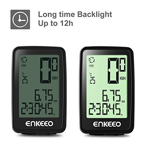 Enkeeo Wired Bike Computer USB Rechargeable Bicycle Speedometer Odometer with 12 Hour Backlight Display, Current/AVG/MAX Speed Tracking, Trip Time/ Distance Recording for Cycling by Enkeeo (Image #3)