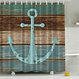 Anchor Shower Curtain Blue Anchor Shower Curtain with Hooks Waterproof Polyester Fabric Bathroom Decoration