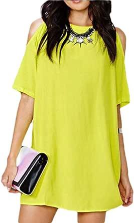 Women's Short Sleeve Cold Shoulder Summer Tunic Top Swing T-Shirt Dress