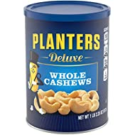 PLANTERS Deluxe Whole Cashews, Resealable Jar - Wholesome Snack Roasted in Peanut Oil with Sea Salt - Nutrient-Dense Snack & Good Source of Magnesium, 517g