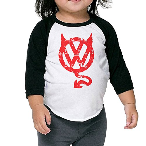 Kid's VW Devil 3/4 Raglan Sleeves Baseball Tee Shirt Jersey For Boys And Girls Age Of 2 - 6 Years Old Black 4 Toddler