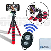 "12"" Inch Flexible Tripod w/ Flexible wrapable Disc Legs Red & Black with Quick Release Plate + Universal Tripod Smartphone Mount + Bluetooth Wireless Remote Control Camera Shutter For Apple iPhone 6, iPhone 6 Plus, iPhone 5c, iPhone 5s, iPhone 5, iPhone 4s, iPhone 4, Samsung Galaxy S6, Glaxy S6 Edge, Galaxy Note 4, Galaxy Alpha, Galaxy Mega 2, Galaxy Note Edge, Galaxy S5, Galaxy S4 mini, Galaxy S4 & Other Smartphones + eCost Microfiber Cloth"