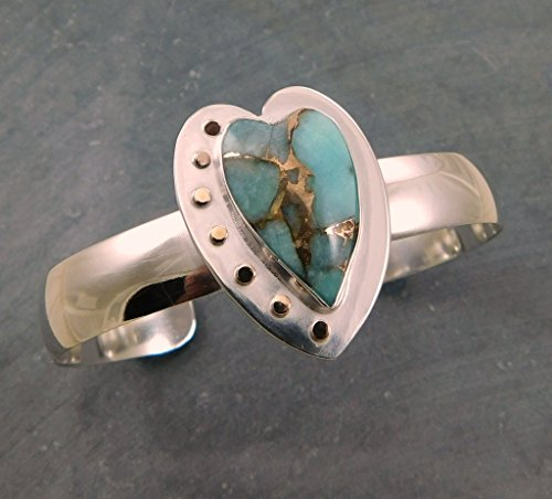 Peruvian Amazonite With Bronze Heart Stone Mixed Metal Sterling Silver Cuff Bracelet ()