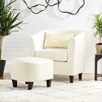 Prescott Ivory Leather Tub Style Club Chair & Ottoman