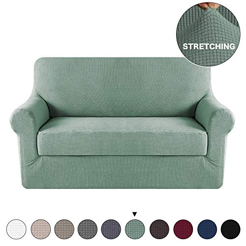2 Piece Furniture Protector Sofa Cover for Loveseat Sofa Slipcover/Protector, Slip Resistant, Durable Lycra Jacquard Sofa Cover Form Fit Furniture Protector Couch Cover (Loveseat, Dark Cyan)
