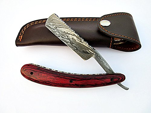 Poshland Knives RZ-2085, Custom Handmade Damascus Steel Straight Razor - Beautiful File Work on Red Doller Sheet Handle by Poshland Knives (Image #8)