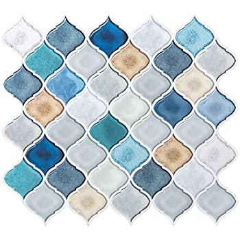 Magictiles Teal Arabesque Peel And Stick Tile Backsplash