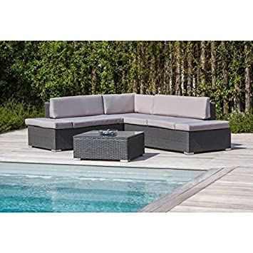 Salon de jardin 1 table basse + canapé d\'angle en aluminium et ...