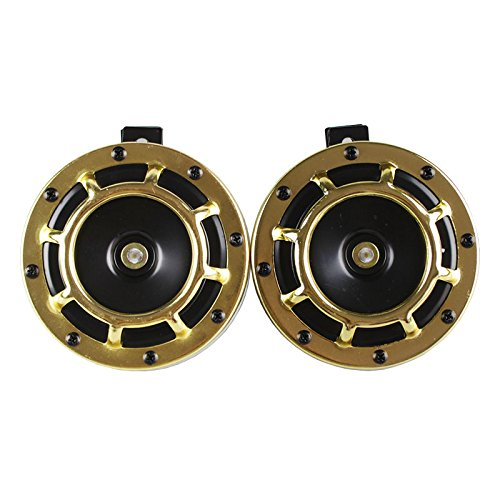 RASTP 2 PCS 12V Super Loud Grille Mount Compact Electric Blast Tone Horn Kit For Universal Car And Motor RS-BOV014 (gold) ()