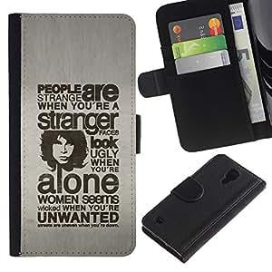KLONGSHOP // Tirón de la caja Cartera de cuero con ranuras para tarjetas - GENTE TIPOGRAFÍA SON EXTRAÑO - Samsung Galaxy S4 IV I9500 //