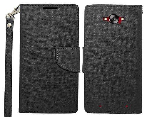 Motorola Red Hard Faceplates (LF 3 in 1 Bundle - Black Premium PU Leather Flip Wallet Credit Card Cover Case, Stylus Pen & Wiper for Motorola Droid Turbo XT1254 (Wallet Black))