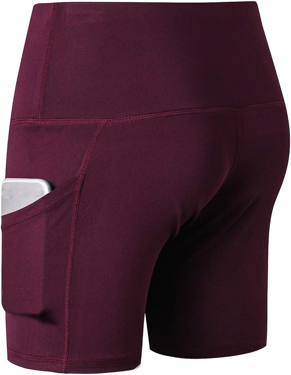 MISOWN Women High Waist Out Pocket Stretch Elastic Tummy Control Yoga Short for Running Athletic Gym