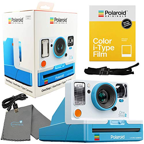 Polaroid OneStep 2 Viewfinder i-Type Camera 9016 Summer Blue Bundle with a Color i-Type Film Pack 4668 (8 Instant Photos) and a Lumintrail Cleaning Cloth (Polaroid Step Film One Instant)