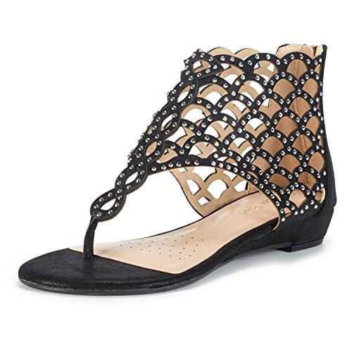 DREAM PAIRS Women's Jewel_08 Black Rhinestones Design Ankle High Flat Sandals Size 7.5 M (High Platform Evening Shoe)