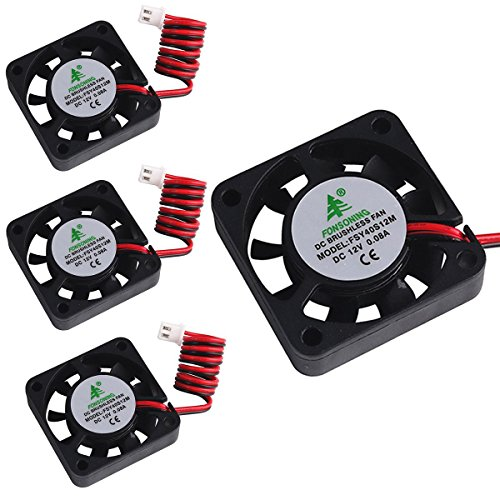 MakerFocus 4pcs 3D Printer Fan 12V 0.08A DC Mini Quiet Cooling Fan 40X40X10mm with 28cm Cable for 3D Printer, DVR,and Other Small Appliances Series Repair Replacement by MakerFocus