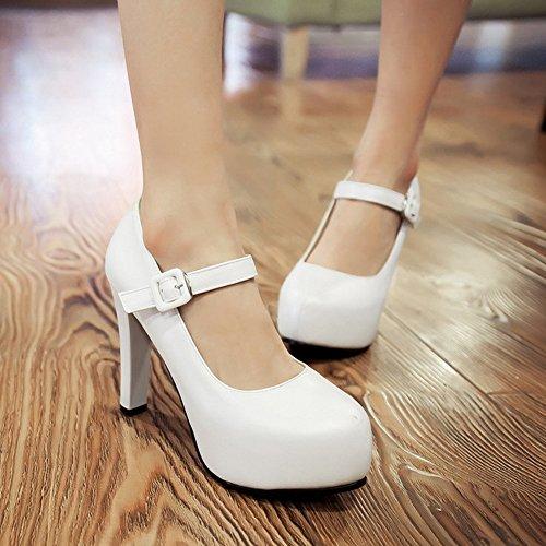 Talons Hauts Ferme Cheville Blanc Bloc Bout Sangle Chaussures Rond Femme Bas Elegant Chaussures De TAOFFEN zxwZOnn
