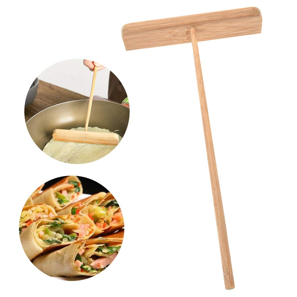Wooden Crepe Spreader Pancake Scraper Pancake Spreader T Shaped Pancake Batter Spreader Handle Length 23CM(Wooden) INLAR