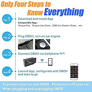 WiFi OBD2 OBDII EOBD Car Diagnostic Scanner Adapter Wireless Code Reader Check Engine Light on Android Windows IOS Smartphone Laptop iPhone iPad Torque Pro for OBD 2 Protocol Vehicle since 1996