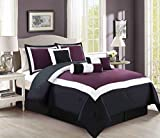 Black and Purple Comforter Sets Queen 7 Piece Oversize Purple / Black / White Color Block Comforter set 94
