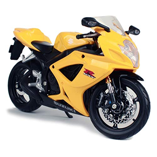 GAOQUN-TOY Motorcycle Model 1:12 Scale Motorcycle Suzuki GSXR600 Alloy Model Toy Gift Decoration (Color : Yellow, Size : 1769cm)