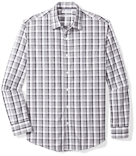 Amazon Essentials Men's Regular-Fit Long-Sleeve Casual Poplin Shirt, grey/black plaid, Large (Black And White Plaid Button Up Shirt)