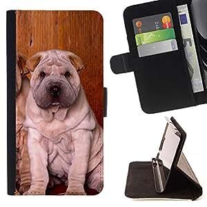 Momo Phone Case / Flip Funda de Cuero Case Cover - Los cachorros Shar Pei Sentado arrugado perro; - Samsung Galaxy Core Prime