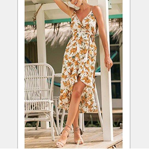 Lunghi Bianco Estivo Spaghetti Cintura Dress Di Ai Vacanza Stampa Lace Di Giallo Con Abiti moichien Donne Bowknot Wrap Cinghia Up xAqBPHRw