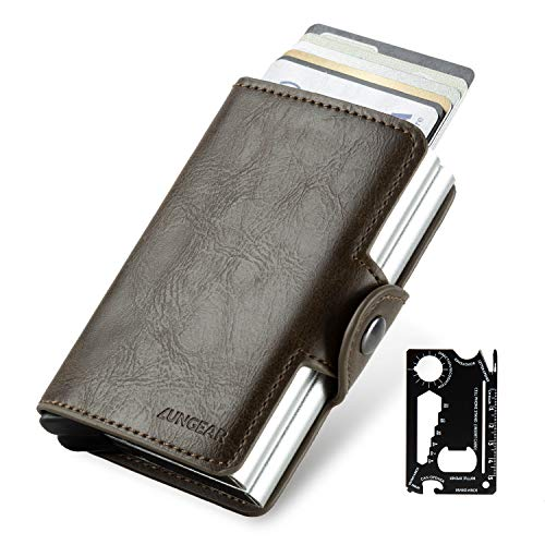 LUNGEAR Credit Card Holder Aluminum Card Wallet with Banknote Storage and Card Knife for Men or Women Exterior Leather Up to Hold 14 Cards (Darkbrown)