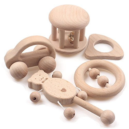 Hi Bell Thin - Baby Teether Wooden Teething Set of 5 Natural Beech Wood for Girl and Boy Chew Toys Infant Training Organic Rattle with Tinkle Bell Montessori Toys