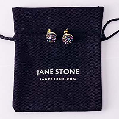 JANE STONE Fashion Resin Square Colorful Faux Druzy Stone White Stud Earrings for Women and Teens