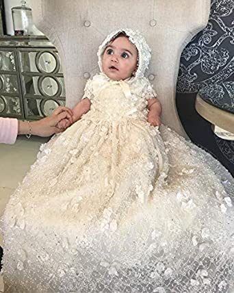 Michealboy Vintage Baby Christening Dress Infant Short Sleeves Beading Top Lace 0-24M