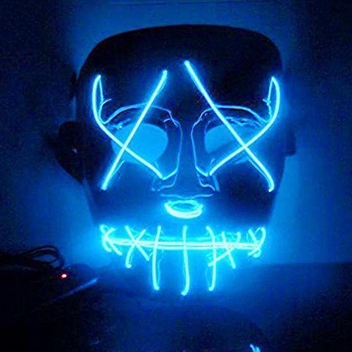 Smartcoco Frightening Halloween Cosplay LED Light up Mask for Festival Party Halloween (Making Scary Halloween Masks)