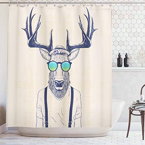 Ambesonne Antlers Decor Shower Curtain, Illustration of Deer Dressed Up Like Cool Hipster Fashion Creative Fun Animal Art Print, Polyester Fabric Bathroom Shower Curtain Set with Hooks, Beige Black ()