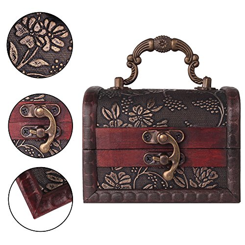 Decorative Vintage Jewelry Treasure Chest Box, Wooden Trinket Box Keepsake Gift Case With Handle
