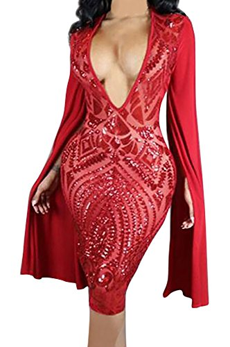Jiujiuyi Womens Sequins Embroidered Bodycon product image