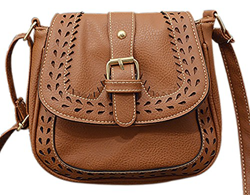Bag Women's 2 QZUnique Bag Crossbody Hollow Bag Shoulder Saddle Front PU Hobo Belt Brown SddfqwP