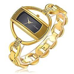 Fashion Women Gold Crystal Bangle Watch Ladies Luxury Wrist Quartz Watches