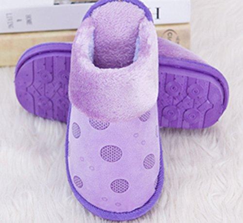 Dsmor Damesslipjes Winterrozetten Pantoffels Comfortabele Huispantoffels Paars