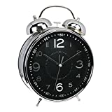 YDL 4'' Retro Twin Bell Alarm Clock with Backlight, Battery Operated Loud Alarm Clock (Black)