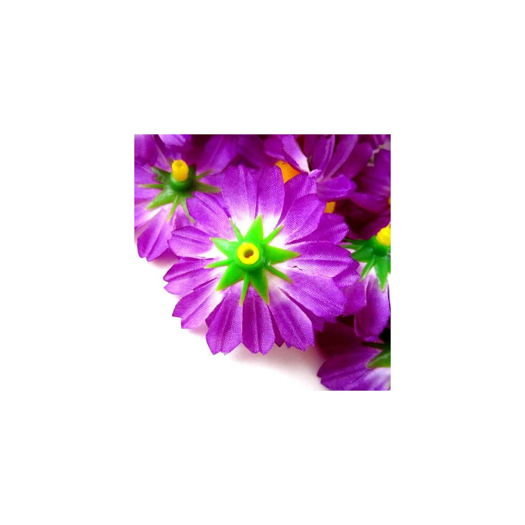 (100) Silk Violet Gerbera Daisy Flower Heads , Gerber Daisies – 1.75″ – Artificial Flowers Heads Fabric Floral Supplies Wholesale Lot for Wedding Flowers Accessories Make Bridal Hair Clips Headbands Dress