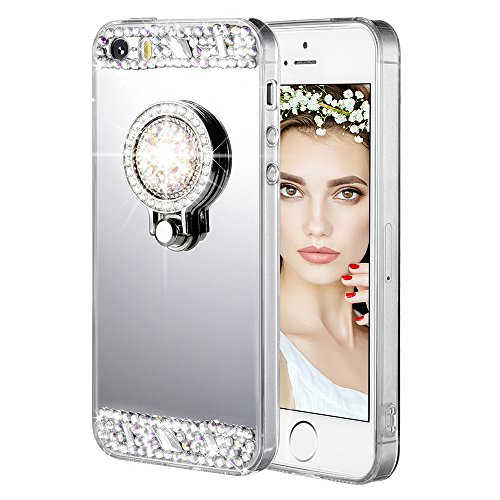 iPhone 5/5S/SE Case, Caka iPhone 5S Glitter Case [Rhinestone Series] Luxury Cute Shiny Bling Mirror Makeup Case for Girls with Ring Kickstand Diamond TPU Case for iPhone 5/5S/SE - (Silver) (Iphone 5s Case Cute Bling)
